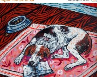 25% off american fox hound signed art print sleeping animals impressionism modern abstract