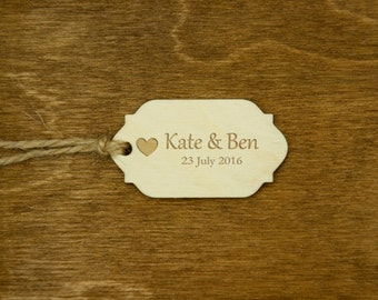 Wedding Wooden Gift Tags Personalzed Wooden Engraved Tags Rustic Party Favor Gift Tags Natural Wood