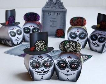 Día de los Muertos gift box (Printable) - 6 Catrina favor box and skull gift box - centerpiece for a Halloween party, Mexican Calavera