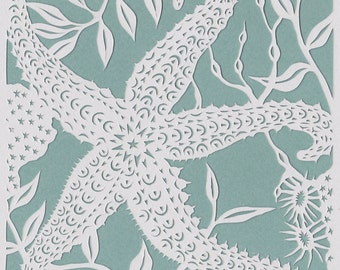 Starfish papercut. 'Spiny Starfish' limited edition print from an original handmade papercut