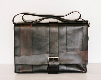 """Black Leather Messenger Bag, Hand Cut and Dyed // """"strappy"""" by fullgive in vintage black"""