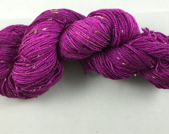 hand dyed sock yarn, fingering weight, superwash merino wool and NEP, tweed yarn, colorway BOUQUET