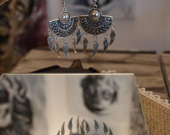 ethnic earrings silver wings 8.5 x 4.5 cm