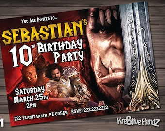 Warcraft Birthday Party Invitation customized printable invite for boys or girl of any age + Free Thank You Card