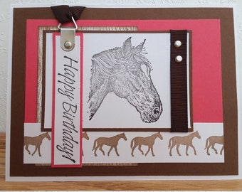 Western Handmade Card. Horse Birthday Card. Hand Stamped Horse Card.