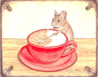 Balanced Blend Barista Mouse Note Card