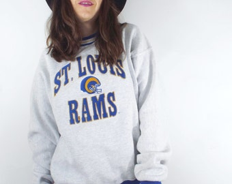 Vintage 90s St. Louis Rams Grey Embroidered Sweatshirt