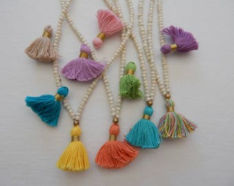 Mini cotton tassel necklace, layering necklace, beach chic, boho style, everyday jewelry, glass bead, summer fashion