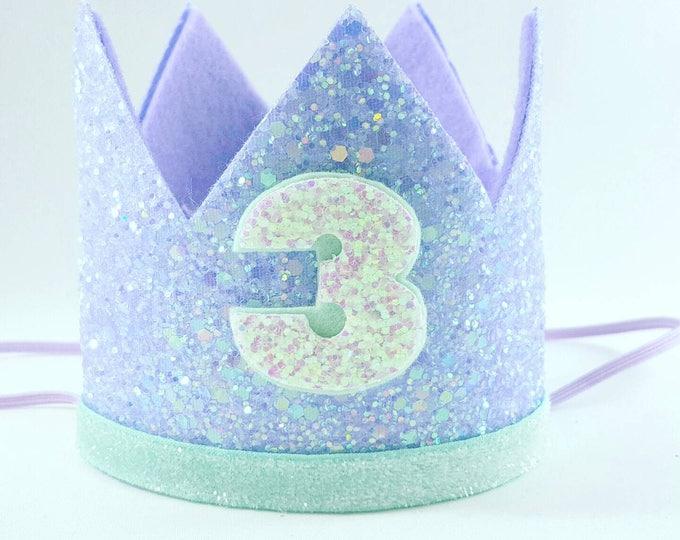 Birthday Crown || Mermaid Theme Birthday || Mermaid || Mermaid Crown || Birthday Girl || 3rd Birthday || 3 Crown || Mermaid Birthday