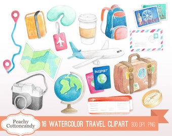 BUY 2 GET 1 FREE Watercolor Travel Clip Art - holiday vacation travelling clipart - watercolour travel clipart - Commercial Use Ok