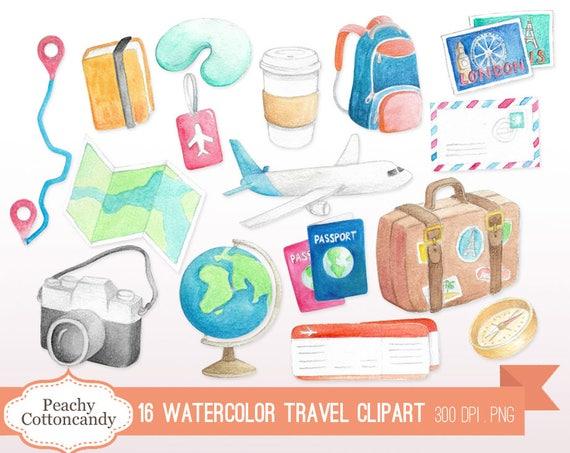 Kaufen Sie 2 Get 1 Free Aquarell Reisen Clip Art Urlaub