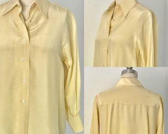Vintage 80's Silk Pointy Collar 3/4 Sleeve Buttonfront Blouse l M/L
