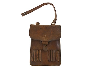 Vintage Japanese 40's WW2 Era Military Utility Leather Bag (VA-4)