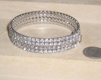 Vintage Clear Four Row Rhinestone Bracelet 1950's Jewelry 2118