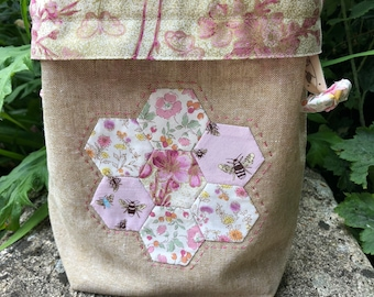 Pink Blossom & Bees Flower Garden Project Bag, Knitting Accessory, Crochet Accessory