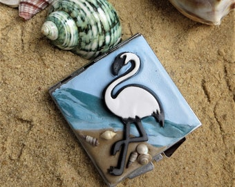 Compact mirror_White flamingo on the beach hand held compact mirror _beauty accessory (3)