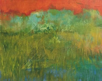 "Night Meadow - Original Acrylic Oil Encaustic Landscape Painting- 12""x 12"""