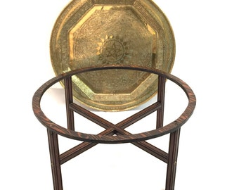 Vintage Moroccan Style Intricate Etched Hammered Round Brass Tray On Stand  Coffee Table