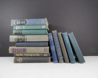 Vintage Rustic Book Set // Dark Navy Blue, Gray, and Black Mismatched Bookshelf Fillers Hardcover Decorative Books Mid Century Modern Retro