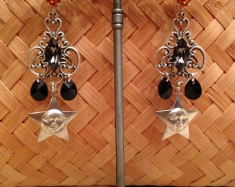 """Earrings Baroque chic orange, and silver Crystal swarovski and brass """"good adventure"""""""