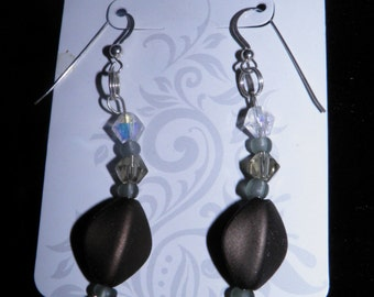 Brown, Clear, & Gray Beads Sterling Silver Earrings
