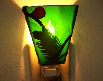 Shades - Winter Leaf Nightlight (Green) w/Red gem