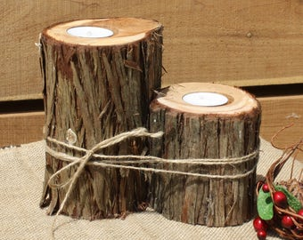 Nature inspired wedding decor, Rustic Candle Holder, Ranch home Votive Holder, tree stump candle, outdoorsy party decor, wooden centerpiece