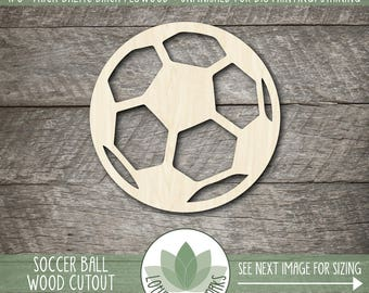 Soccer Ball Wood Shape, Laser Cut Wooden Soccer Ball Cutout, Wood Soccer Ball, Soccer Team Gift, , Unfinished For DIY Projects, Many Sizes,