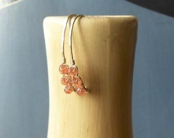 Gold Sunstone Earrings, Gold Filled Wire Wrapped Beaded Gemstone Threader Earrings