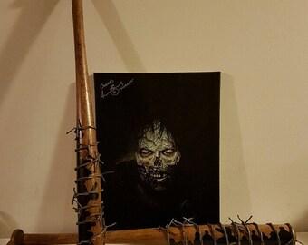 Hand Painted Bat - Lucille - Eeny Meeny Miny Moe - The Walking Dead