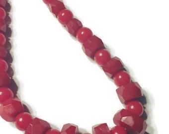 Vintage Bakelite Necklace, 1930s 1940s Bakelite, Cherry Red Bakelite Bead Choker, Art Deco, Costume Jewelry