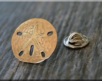 Brass Sand Dollar Tie Tac, Lapel Pin, Ocean Theme Brooch, Gift for Him, Gift Under 10 Dollars, Beach Tie Tack, Accessory, Unisex Pin