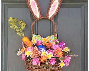 Spring Door Bunny. Spring Wreath. Easter Bunny Decor. Grapevine Bunny Wreath. Spring Floral Decor. Unique Easter Decoration. Bunny Rabbit