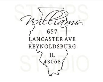 Illinois, Square Stamp, Self Inking Address Stamp, Address Stamp, Custom Address Stamp, Return Address Stamp, Housewarming Gift - IL