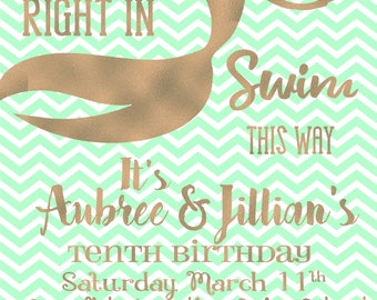 Mermaid Swim Party Invitation