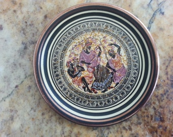 Greek Handicraft, Mercury, Kepameikh Xeipotexnia, Copper Saucer, Greek Mythology