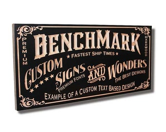Custom Sign: Carved Wooden Sign for Custom Text Design Benchmark Signs Maple CT