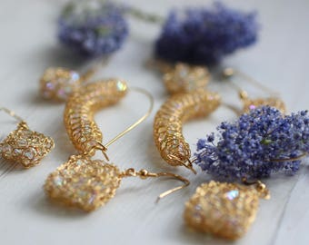 Crocheted gold plated silver wire drop earrings