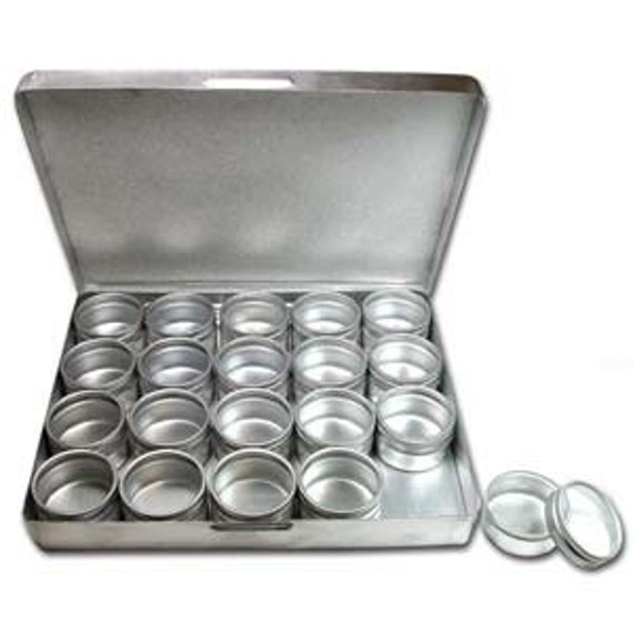 Aluminum Containers 20 in an aluminum box 6-3/4x5 Inch Box 1/2x1 inch Containers