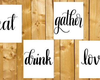 Digital hand lettered prints for any room and occasion, set of 8