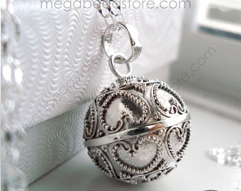 """20mm Maternity Necklace Mexican Bola Harmony Ball Heart 36"""" Chain 925 Sterling Silver P80FC29"""