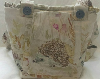 Hedgehogs vegan, handmade, unique shoulder bag.
