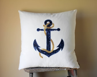Blue Anchor Pillows, Blue Anchor Cushions, Nautical Pillows, Nautical Throw Pillows, Nautical Decor, Embroidered Blue Anchor with Gold Rope