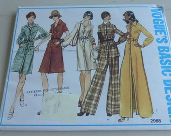 Vintage Vogue Basic Design 2968 Misses Dress Tunic and Pants Size 16 Factory Fold