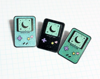 Magical Girl Gameboy Inspired Glitter Hard Enamel Pin - Ready To Ship! Blue or Green!