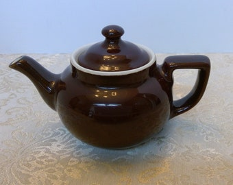 Hall China Teapot, Brown Tea Pot, Individual Hot Beverage Server, Boston Style