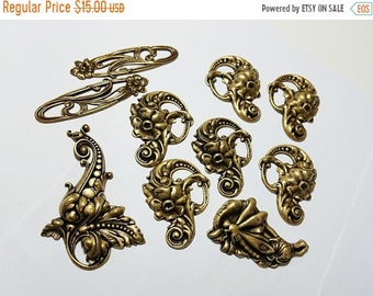 60OFFSALE Ox Antiqued Brass Destash Job Lot 17 Dragonfly Flowers Leaf Scroll Made in the USA Brass