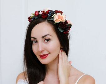 Flower crown Boho flower crown Bridal flower crown Wedding flower crown Flower hair wreath Girl flower crown