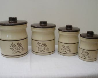 Vintage Metal Canister Set with Plastic Tops