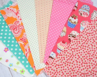 """Girls fabric scrap including floral cake and strawberry   print 25 cm by 25   cm or 9.6 """" by 9.6""""  set of 8 pieces sc07"""